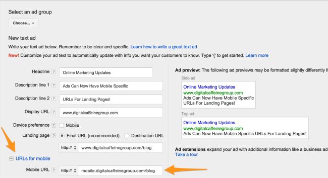 Mobile URLs in AdWords