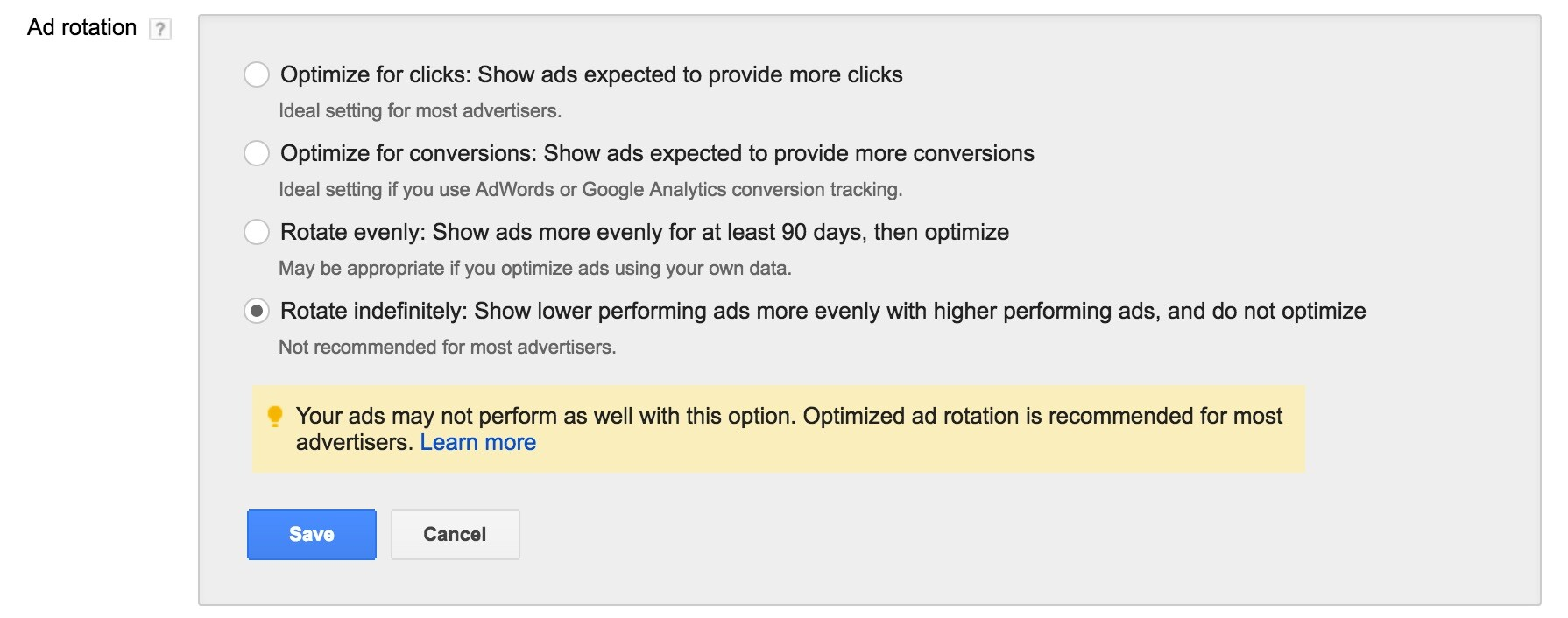 AdWords Ad Rotation Option