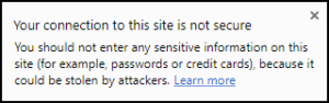 web browser security warning message